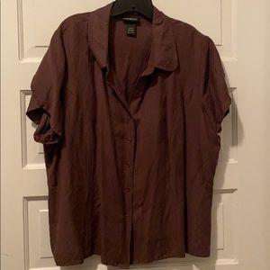 linen blend button up blouse